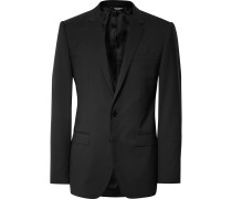 Black Slim-fit Stretch-virgin Wool Suit