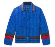 Striped Quilted Shell Jacket - Blue