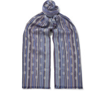Polka-dot Striped Twill Scarf