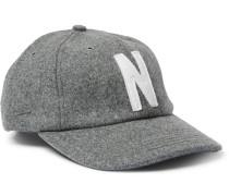 Logo-Appliquéd Melton Wool-Blend Baseball Cap