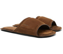 Epure Full-grain Nubuck Leather Slides - Brown