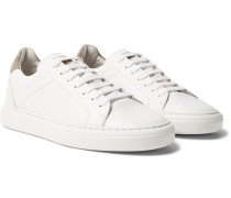 Suede-trimmed Leather Sneakers - White