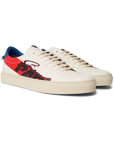 Urban Street Printed Leather Sneakers - White