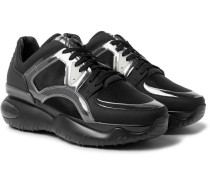 Mesh, Leather, Pvc And Rubber Sneakers - Black