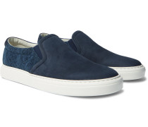 Nubuck and Canvas Slip-On Sneakers