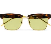 D-Frame Tortoiseshell Acetate and Gold-Tone Sunglasses