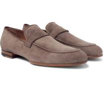 Foot Glove Nubuck Loafers - Taupe