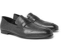 Asola Collapsible-heel Textured-leather Penny Loafers - Dark gray