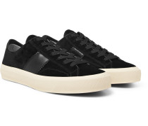 Cambridge Leather-trimmed Velvet Sneakers