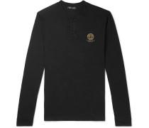 Logo-Print Cotton-Blend Jersey Henley T-Shirt