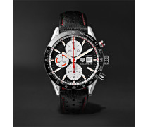 Carrera Automatic Chronograph 41mm Steel and Leather Watch, Ref. No. CV201AP.FC6429