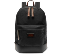 Volume Leather-trimmed Jacquard Backpack - Black