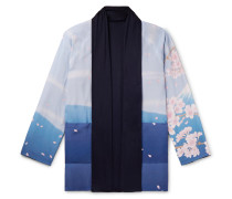 Reversible Printed Crepe De Chine And Jersey Jacket - Blue