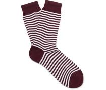 Striped Mercerised Cotton-blend Socks