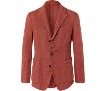 Red Slim-fit Unstructured Mélange Linen-blend Blazer