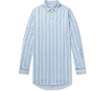 Oversized Button-down Collar Striped Denim Shirt