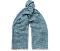 Fringed Herringbone Cashmere And Silk-blend Scarf