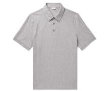 Herringbone Cotton-jersey Polo Shirt - Gray