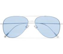Aviator-style Silver-tone Sunglasses - Blue