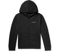 Slim-fit Logo-print Fleece-back Cotton-blend Jersey Zip-up Hoodie - Black