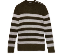Slim-fit Buttoned Striped Metallic Knitted Sweater - Green