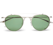 Aalto Round-frame Titanium And Acetate Optical Glasses With Clip-on Aviator-style Uv Lenses - Silver