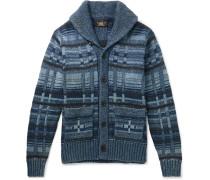 Shawl-collar Intarsia Cotton-blend Cardigan