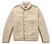 Nordic Shawl-Collar Grosgrain-Trimmed Fleece Jacket