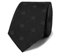 6.5cm Logo-embroidered Silk-faille Tie - Black
