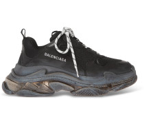 Triple S Clear Sole Mesh, Nubuck And Leather Sneakers - Black