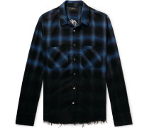 Appliquéd Distressed Checked Cotton-flannel Shirt - Royal blue