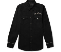 Slim-fit Logo-embroidered Denim Western Shirt - Black