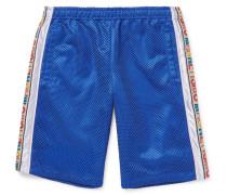 Striped Mesh And Satin Drawstring Shorts