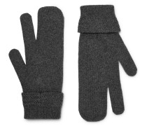 Mélange Wool And Cashmere-blend Mittens - Gray