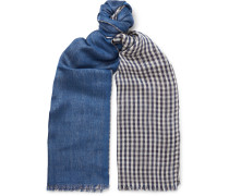 Fringed Gingham Cashmere and Silk-Blend Scarf