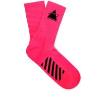 Embroidered Logo-Intarsia Stretch-Knit Socks