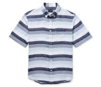 Slim-fit Button-down Collar Striped Linen Shirt
