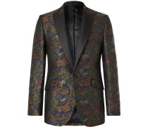 Navy Slim-Fit Satin-Trimmed Cotton-Velvet Tuxedo Jacket