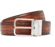 3.2cm Scritto Reversible Leather Belt - Tan
