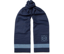 Fringed Logo-intarsia Wool And Silk-blend Scarf - Navy