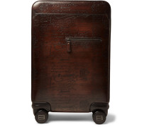Formula 1004 Scritto Leather Rolling Suitcase - Dark brown