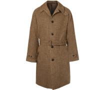 Herringbone Wool Overcoat - Brown