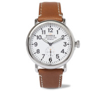 The Runwell Stainless Steel And Leather Watch - White