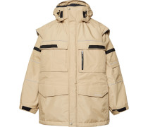 Oversized Convertible Shell And Virgin Wool Hooded Parka - Sand
