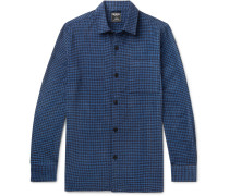 Houndstooth Cotton-blend Chenille Overshirt - Blue