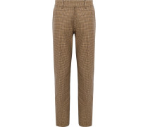 Houndstooth Cotton Trousers - Brown