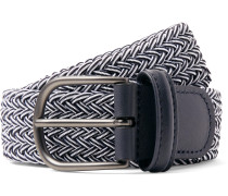 3.5cm Midnight-Blue Leather-Trimmed Woven Elastic Belt