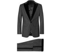 Charcoal Mélange Velvet-trimmed Virgin Wool And Silk-blend Tuxedo