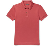 Slim-fit Garment-dyed Cotton-piqué Polo Shirt - Orange