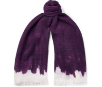 Fringed Dégradé Wool And Silk-blend Scarf - Purple